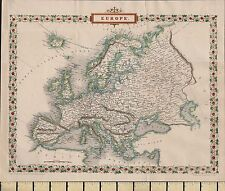 c1860 VICTORIAN MAP ~ EUROPE ~ ENGLAND IRELAND FRANCE SPAIN ITALY DENMARK etc