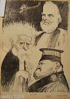 Woodblock Drawing Caricature Billot Cavaignac Mercier Manau Loew Bard Leandre