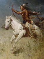 """Charging the Enemy"" Z. S. Liang Western Indian Fine Art Giclee Canvas"