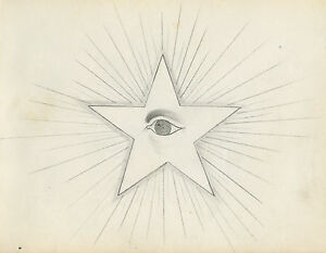 ANTIQUE 1874 AMERICAN FOLK ART IOOF STAR EYE DRAWING OWENSBORO KY PARRISH KEAGAN