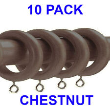10 Pack CHESTNUT Super Strong Curtain Rings to fit 28mm Wooden Curtain Poles