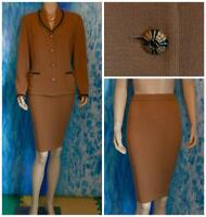 ST. JOHN Collection Knits Camel Brown Jacket Skirt L 14 12 2pc Suit Black Trim