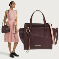 NWT+Box🍷Salvatore Ferragamo Leather Small Amy Crossbody Wine Purple Desert Rose