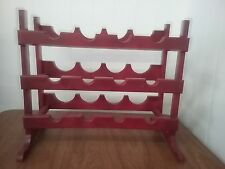Wood Painted Red Wine Bottle Rack Holder Tabletop Countertop Shelf