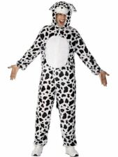 Smiffys Adult Unisex Dalmatian Costume Jumpsuit With Hood Party Animals Fun