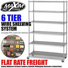 MAXIM 6 Tier Wire Rack Shelving Chrome Garage Kitchen Storage Metal Shelves