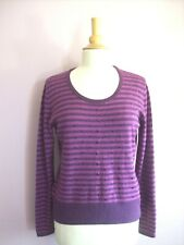Viyella Size Medium UK 14 Purple Striped Lambswool Angora + Cashmere Jumper