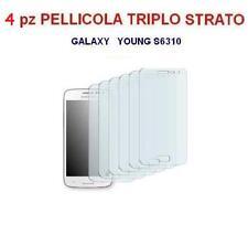4x PELLICOLA PROTEGGI DISPLAY per SAMSUNG GALAXY YOUNG S6310 triplo strato