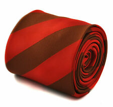 Frederick Thomas red and chocolate brown barber striped mens tie FT1767