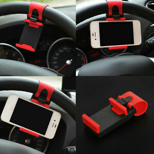 Red GPS Car Mobile Phone Holder Mount Stand Steering Wheel Clip Accessories