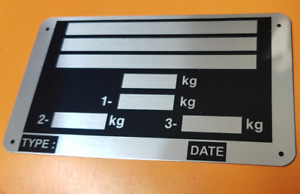 Trailer Blank VIN & Weight Chassis Plate size 115mm x 65mm Idenfication Number