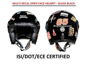 Royal Enfield MULTI DECAL OPEN FACE HELMET (GLOSS BLACK) - Express Shipping
