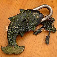 HD08 Nepalese Tibetan Handmade Antique Finish Brass Fish Door Lock Nepal Tibet