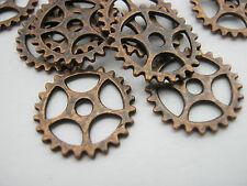 "10 Steampunk Cogs Wheels Gears Copper Tone 15mm (1/2"") Metal Steampunk Charms"