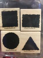 Stampin up LITTLE SHAPES Set 4 of Rubber STAMPS Rectangle CIRCLE Triangle SQUARE