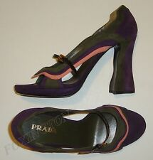 BEAUTIFUL PRADA FAIRY COLLECTION OPEN TOE SUEDE PUMPS size 40 Made in Italy