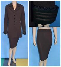 ST JOHN COLLECTION KNIT Brown XL L 12 10 JACKET SKIRT 2pc Suit BLACK Suede Trims