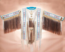 """Authentic Native American Indian White ELK Hide Double Beaded WAR SHIRT 66""""x 40"""""""