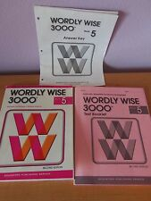 Wordly Wise book 5 5th grade Workbook, Test booklet, Answer Key
