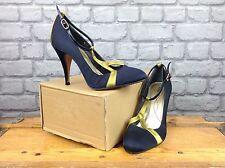 REISS LADIES UK 4 EU 37 BLACK GOLD HI HEEL SHOE'S RRP £100