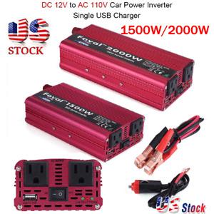 1500/2000W Portable Car LED Power Inverter WATT DC 12V to AC 110V Converter New