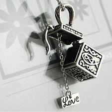Newly Retro Ladies Girls Charm Wish Prayer Box Dangle Pendant Necklace Jewellery