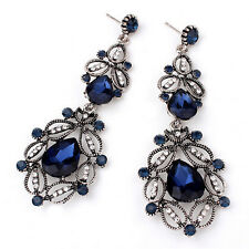 Fashion Flower Hollow Earrings Big Long Crystal Drop Earrings Dangle Earrings w3