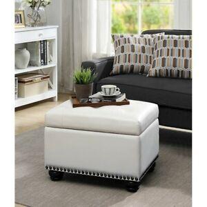 Convenience Concepts Designs4Comfort 5th Avenue Storage Ottoman, Ivory - 163010W