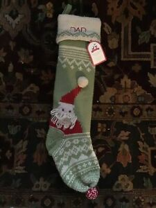1 Huge  Pottery Barn Christmas Stocking,Merry & Bright, DAD