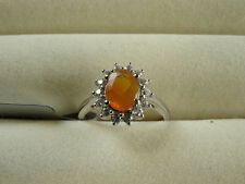 AAA Orange American Fire Opal & Ratanakiri Zircon 10K White Gold Ring Size J-K/5