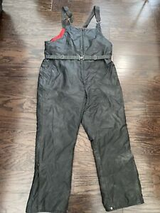 Vintage Ski Doo Bombardier Snowmobile Racing Bibs Pants Men Sz XL Black Red Vtg