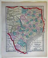 Texas State Map Railroads Dallas Houston 1856 Morse Cerographic miniature map