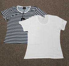 Ladies Size 12 Twin pack Be You Short Sleeve White Navy Striped T Shirt Top
