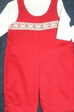 Will'beth Boys size 6 mo. 2 piece set in Red & Cream with smocking New with Tags