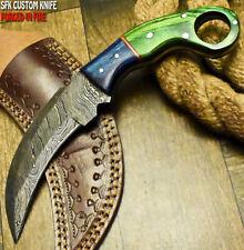 SFK CUTLERY RARE CUSTOM HANDMADE FIXED BLADE DAMASCUS ART HUNTER KARAMBIT KNIFE