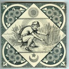 """EXTRA Scarce Antique English Tile Seven Ages of Man """"Manhood"""" T & R Boote c1883"""