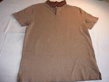 MANTARAY SIZE L/46 BROWN TEXTURED COTTON SHORT SLEEVE POLO SHIRT