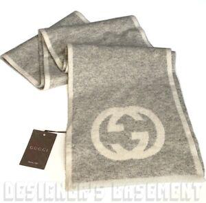 "GUCCI gray & ivory MAGLIA Interlocking G 100% Cashmere 74"" scarf NWT Authen $670"