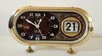 "Red Burgundy Shanghai Diamond Wind-Up Table Alarm Clock Date 8"" Long"