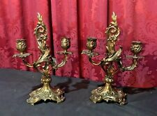 Pair Of Antique Victorian Gilt Cast Metal Two Light Candelabra