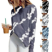 Women Long Sleeve Crew Neck T Shirt Casual Print Blouse Loose Stripe Tunic Tops