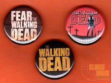 "Set of three 1"" Walking Dead pins buttons AMC zombie horror Fear"