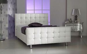 Cube Diamante Leather Bed With Crystal Diamonds White 4'6 Double 5ft King Size