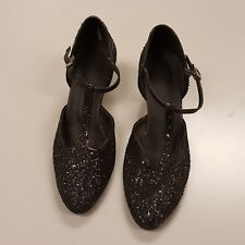 Vintage Women Black Shimmer Glitter T-strap Mary Jane Dance Shoes Prom Wedding