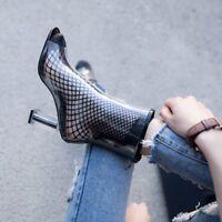 Womens Summer Open Toe Clear Transparent Boots Zipper Block High Heels Shoes