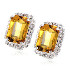 Yellow Rhinestone square Big Stud earrings Gold filled Authentic earings lot