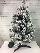 "Bethlehem Lights 30"" Flocked Overlit Stake Tree with Bow QVC Christmas Decor"