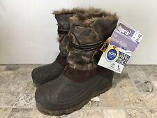 Girls Winter Snow Boots Size 12 Kids Warm Lining Non Slip Sole Brown