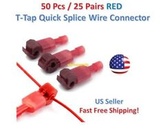 50pc Insulated 22-18 AWG T-Taps Quick Splice Wire Terminal Connectors Kit RED