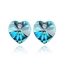 Austrian Crystal Blue Heart Shaped Rhinestone Stud Elements Earrings UK Seller